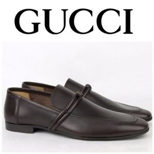 mens Gucci loafer brown leather strap